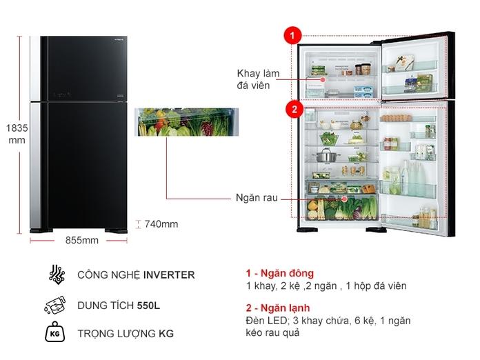 TỦ LANH HITACHI INVERTER 550 LÍT R-FG690PGV7X(GBK)