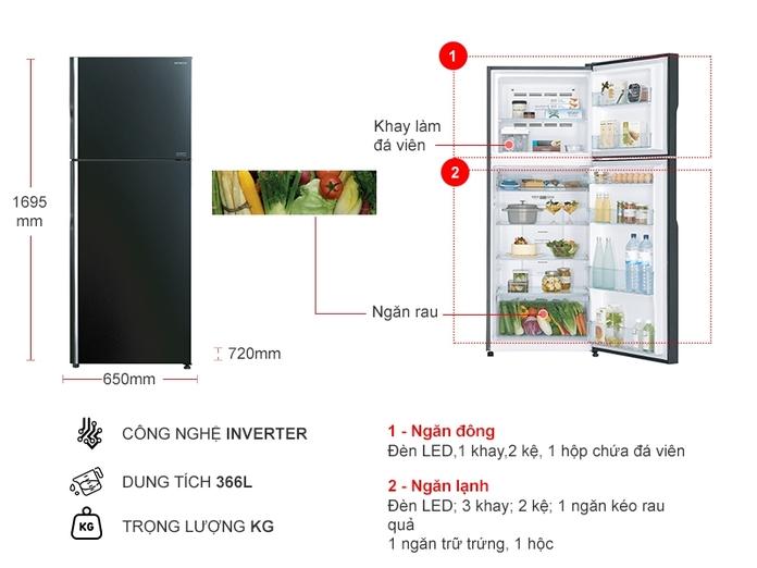 TỦ LANH HITACHI INVERTER 366 LÍT R-FG480PGV8(GBK)
