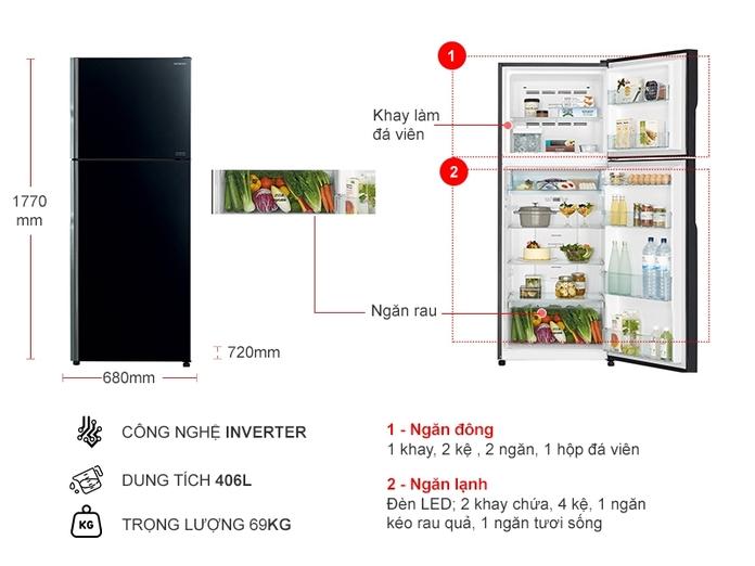TỦ LANH HITACHI INVERTER 406 LÍT R-FG510PGV9(GBK)