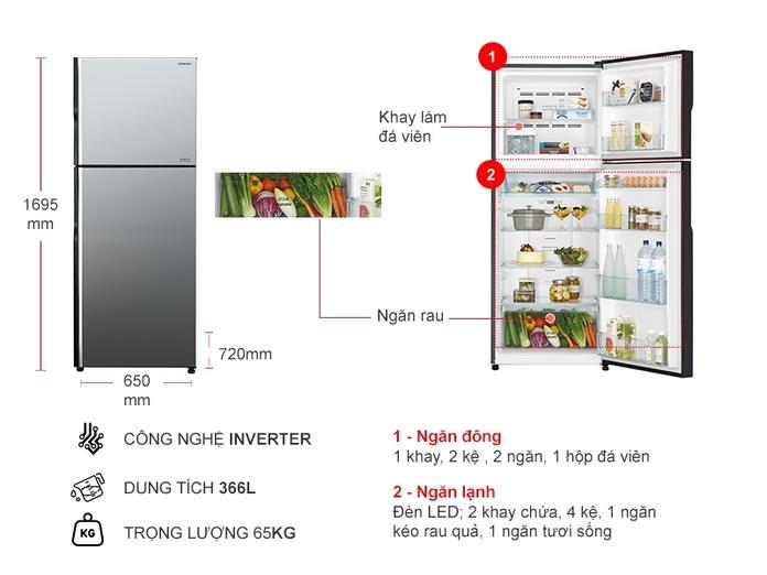 TỦ LANH HITACHI INVERTER 366 LÍT R-FVX480PGV9(MIR)