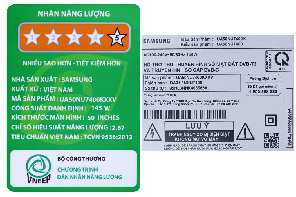 Smart Tivi Samsung 4K 50 inch UA50NU7400